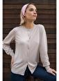 Silk and Cashmere & More Edelina Modal ve Pamuklu Yuvarlak Yaka Hırka Bej